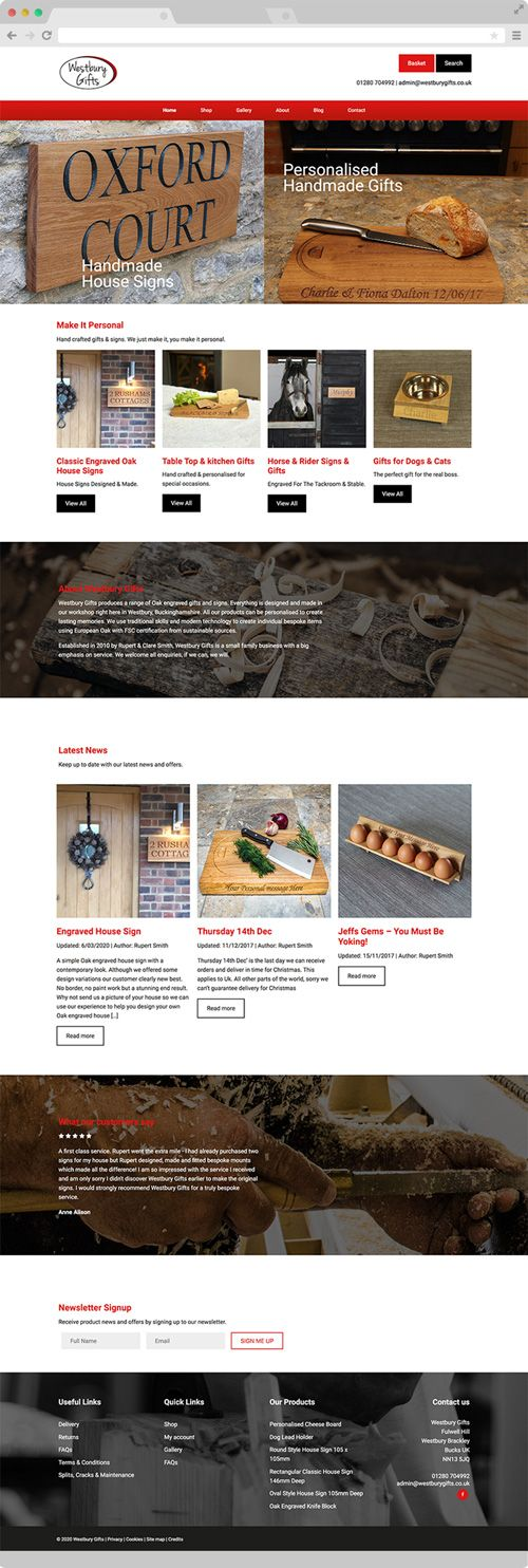 Personalised Gifts Website Design